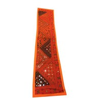 Mogul Tuscan Orange Table Runner Mirror Work Ethnic Embroidered Wall Tapestry - Walmart.com