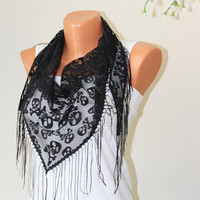 Triangle Scarf-Shawl-Skull scarfs-mother days gift-Fashion scarfs-Women Accessories-tulle scarf-tulle shawl-skull-Fringe SCARF-scarfs