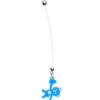 Solid Blue Teddy Bear Love Pregnant Belly Ring   Body Candy Body Jewelry