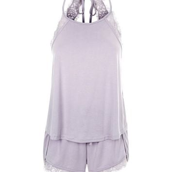 Lilac Lace Trim Vest And Shorts Pyjama Set | New Look