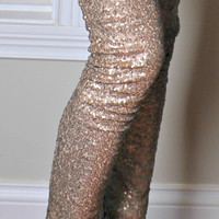 A Sparkle in Your Eye Sequin Leggings: Gold