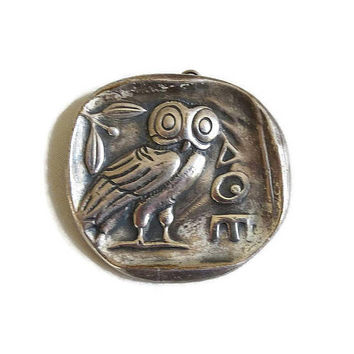 Pewter Owl of Athena Brooch or Pendant Vintage
