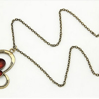 Lindy Red Inlay Butterfly Necklace - 0903133-1