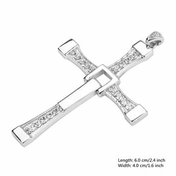 925 Sterling Silver Cubic Zircon Cross Necklace Pendant