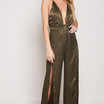 Eyes Are Up Here Satin Jumpsuit in Olive