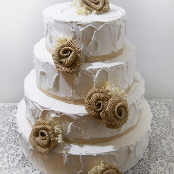 Ready to Ship! Burlap Roses & Ivory Babies Breath Cake Topper Picks, set of 5.