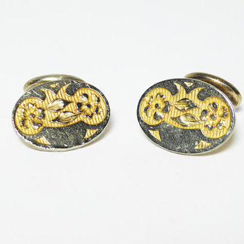 Oval Victorian Cuff Links, Signed S.B.Co, Art Nouveau Flower & Leaves, Antique CuffLinks, Vintage Late 1800's to Early 1900's Mens Jewelry