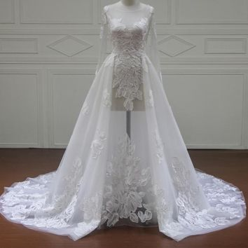 Long Sleeve Sexy Illusion Lace Wedding Dresses Bridal Gowns