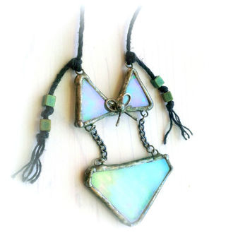 Beach Jewelry Fashion Statement Necklace Bikini Pendant Iridescent Pastel Pink Green Stained Glass Artisan Jewelry Eco Friendly Hemp