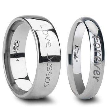 Domed Tungsten Wedding Band Set With Custom Handwriting Engraved - 2mm - 12mm