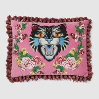 Gucci Velvet cushion with Angry Cat embroidery