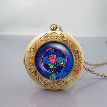Beauty and the Beast Photo Locket Necklace,Beauty and the Beast Flowers Rose,vintage pendant Locket Necklace