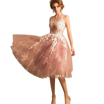Sweep Pink Lace Flower Sleeveless Tea-length Evening Dress the Bride Banquet Elegant Party Prom Gown