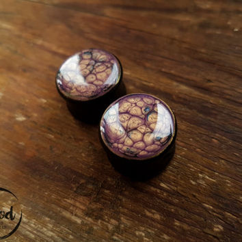 "Pair Purple Wooden Ear plugs,tunnels,wood gauges resin plugs 0g,00g;8,10,12,14,16,18,20 mm;5/16,3/8,7/16,1/2,9/16,5/8,11/16,13/16 "" inch"
