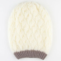 Two Tone Double Layer Beanie Ivory One Size For Women 22362516001