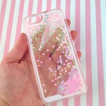 Pink Heart Glitter Liquid  Waterfall Case for IPhone 6, Hologram Quicksand Bling Case
