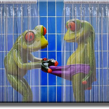 Frogs Peeking in Shower Blue Bathroom Picture on Acrylic , Wall Art Décor, Ready to Hang