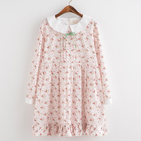 Pink kawaii Cherry printing hem ruffled peter pan collar long sleeve dress mori girl