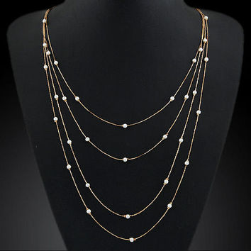 Long Double Pearl Necklace Chain Charm Beads Strip Pendant ELITE Fashion Jewelry