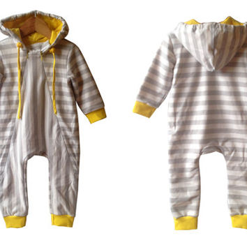 Baby romper grey yellow, kids dungarees,  baby overall,  striped grey white,  kids jumpsuit, baby hoodie,  newborn overall