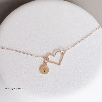 Personalized 14K Rose Gold filled Initial Necklace Heart Pendant Best Friend Bridesmaid Girlfriend Maid of Honor Mother Sister Gift Idea