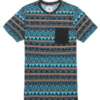 On The Byas Hans Printed Henley T-Shirt - Mens Tee - Blue -