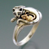 Cat and Mouse Ring Bi-metal
