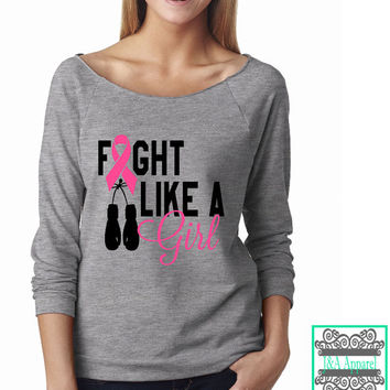 Fight Like A Girl - Breast Cancer Shirt - Breast Cancer Awareness - Raw Edge 3/4-Sleeve Raglan