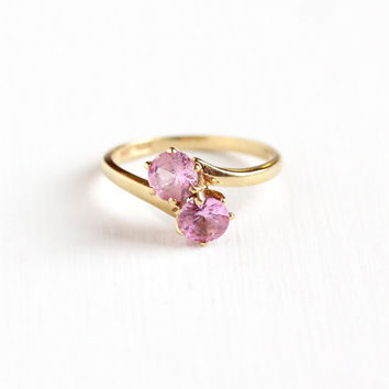 Sale - Vintage 10k Yellow Gold Created Pink Sapphire Ring - Retro 1960s Toi et Moi Size 6 1/2 Bypass Two Stone Fine Jewelry Hallmarked B&F