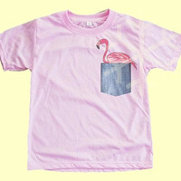 Pink t shirt Flamingo Pocket print shirt Kids pocket tshirt Childrens T shirts - Fake pocket T shirts - Kids shirts - Pink shirt Toddler