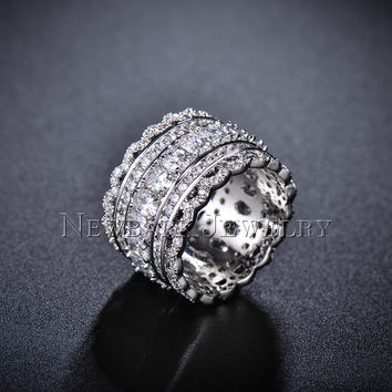 AAA CZ Diamond Wide Band Womens Ring