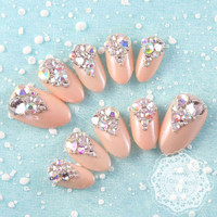 Japanese Nail Art  Sparkling Rhinestones Nude by tanacollection