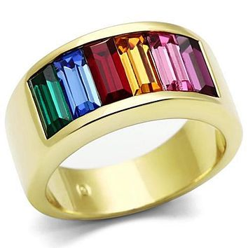 WildKlass Stainless Steel Multicolor Ring IP Gold(Ion Plating) Women Top Grade Crystal Multi Color