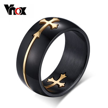 Fashion Separable Cross Ring for Men Woman Black Color Stainless Steel Rings Cool Male Design Jewelry Cross Rings