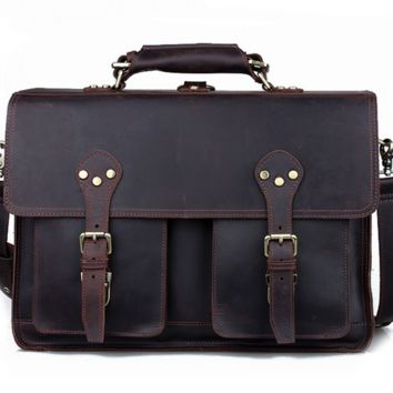 Large Leather Backpack / Travel Bag / Briefcase / Satchel - 2 ways: backpack / messenger(S13)