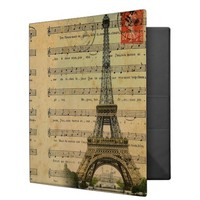 "Artistic music notes Paris Eiffel Tower Avery Signature 1.5"" Binder"