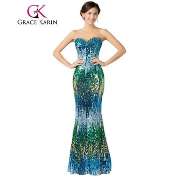 Grace Karin Sexy Colorful Elegant Sequin Prom Dresses Elegant Floor Length Long Formal Dress Dancewear Sexy Party Gown 7517