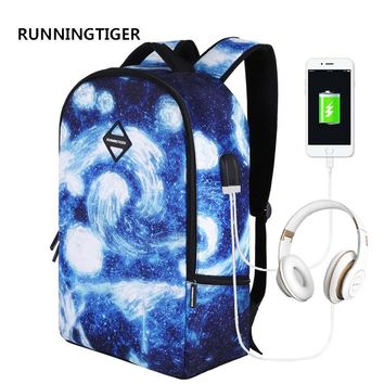 RUNNINGTIGER Laptop Backpack for Men Women USB Charging Waterproof Large Capacity Anti theft Travel Backpack Male