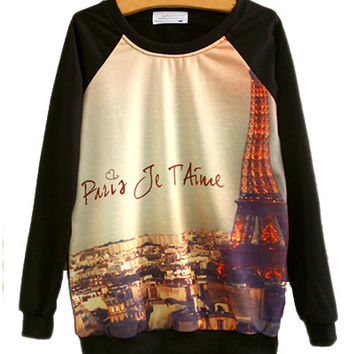Black Eiffel Tower Print Sweatshirt
