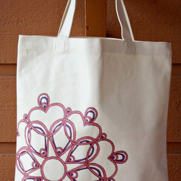 Cream Tote Bag Book Bag Beach Bag w/Pink & Purple Mandala Henna Design