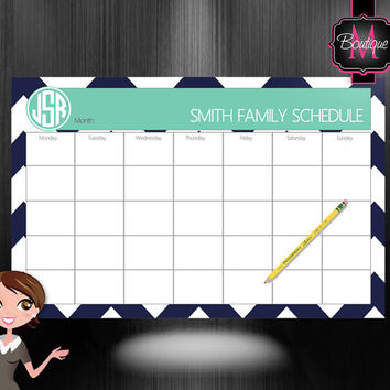 Monogrammed Monthly Desk Calendar - Personalized Desk Calendar , Planner, Desk Pad, Custom Monogrammed, Choose Your Colors