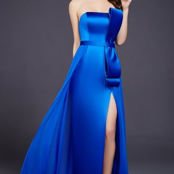Royal High Slit Strapless Dress 36260