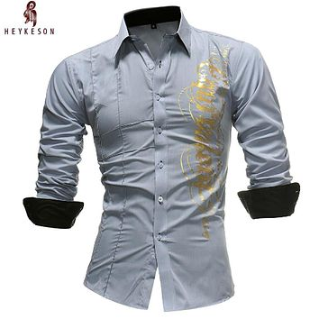 Men Shirt Spring Print Slim Fit Dress Shirt Male Long Sleeves Casual Shirt