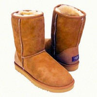 """""""UGG"""" Women Fashion Wool Snow Boots Calfskin Shoes simple Chestnut"""