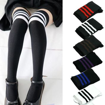 Black And White Colored Stripes Collection Over The Knee Thigh Socks - Women High Socks