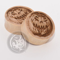 Jack-O-Lantern Engraved Wood Plugs
