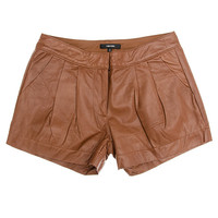 Leather Pleat Shorts