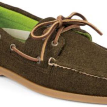 Sperry Top-Sider Authentic Original Wool 2-Eye Boat Shoe Olive/Green, Size 11.5M  Men's Shoes