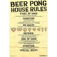 Beer Pong House Rule 24x36 Poster Print Poster Print, 24x36 Poster Print, 24x36