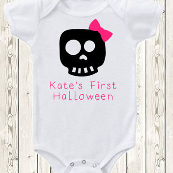 Personalized First Halloween Onesuit ® brand bodysuit or shirt with BOY and GIRL options Custom Skull Onesuit Baby Happy Halloween costume
